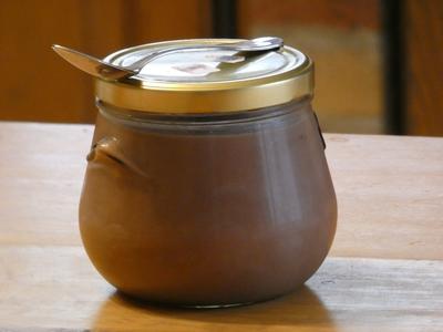"""zz-Gros pot en verre """"crème chocolat format familial"""""""