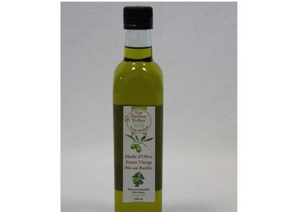 Huile d'olive extra-vierge bio au basilic