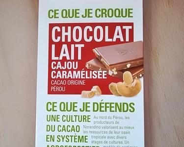 Tablette de chocolat lait cajou caramélisée