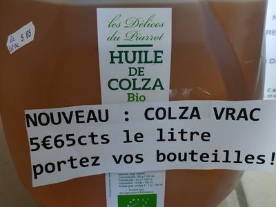 VRAC = HUILE DE COLZA à remplir sur place = portez vos bouteilles 1L