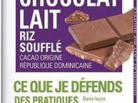 Tablette de chocolat au lait riz soufflé